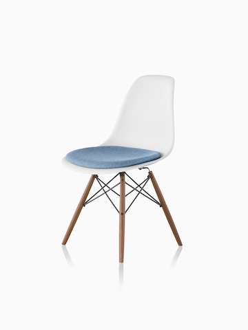 eames molded side chair lucite folding chairs plastic herman miller white with a blue upholstered seat pad and dowel legs