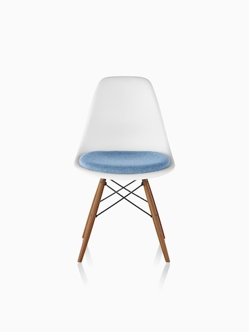 plastic chairs with stainless steel legs wood chair mat eames molded side herman miller white a light blue upholstered seat pad and dowel