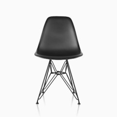 Eames Style Plastic Chair Arm With Ottoman Molded Side Herman Miller Black A Wire Base Viewed From