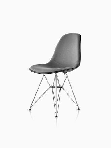 eames molded side chair living room chairs with ottomans plastic herman miller gray upholstered a wire base viewed from 45