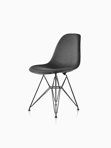eames chair white desk exercise ball molded plastic side herman miller black upholstered with a wire base viewed from 45