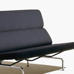 Eames Sofa Compact Italsofa Recliner Lounge Seating Herman Miller Angled View Of A Black Featuring The Foam Seat And Back Cushions