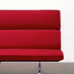 Eames Sofa Compact Innovation Living Bed Review Lounge Seating Herman Miller Partial Front View Of A Red Showing The Minimalist Mid Century