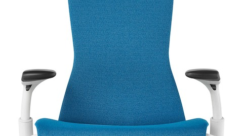 blue office chair cheap glider embody chairs herman miller front view of a showing the seat back and