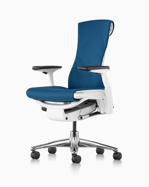 embody chair by herman miller ergonomic home office chairs blue with a white frame polished aluminum base