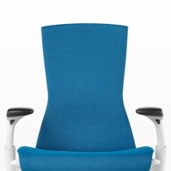 Chair Design Research Motorized Easy Embody Story Office Chairs Herman Miller Front View Of A Blue Showing The Seat Back And