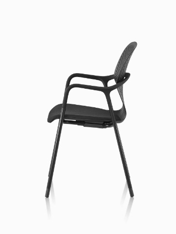 black side chair recliner chairs ikea keyn herman miller view of a stackable with four leg base