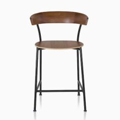 Chair Stool Wood Replacement Papasan Cushion Stools Herman Miller Black Metal Base Leeway Dark Brown Walnut Backrest And Seat