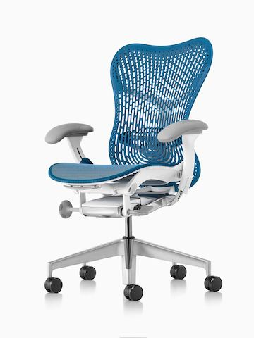 turquoise office chair wicker folding chairs mirra 2 herman miller gray viewed from the side