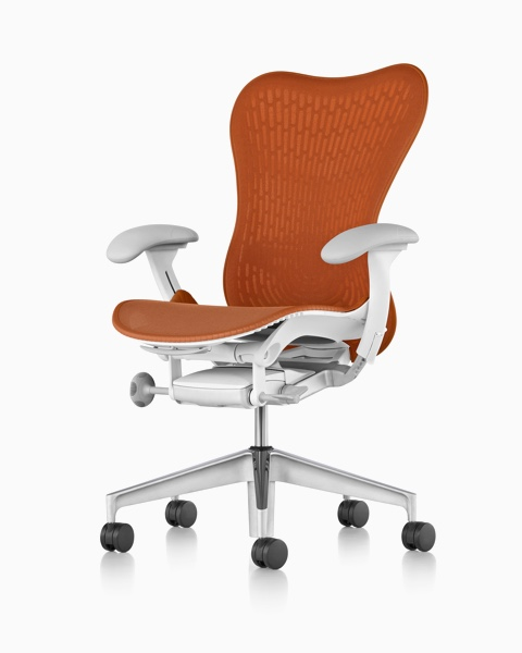orange office chair disposable high floor mats mirra 2 chairs herman miller viewed from a 45 degree angle and showing ergonomic
