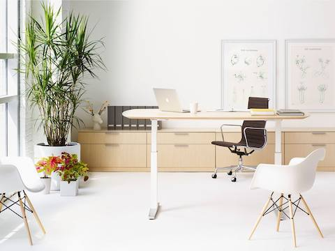 chair stand up trick wheelchair yang bagus renew standing desk herman miller an office featuring oval sit to table black eames aluminum