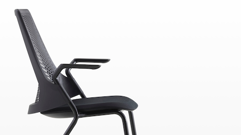 black side chair inexpensive folding chairs sayl herman miller profile view of a with suspension back and upholstered seat