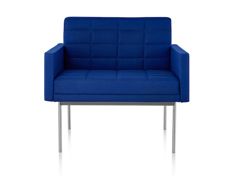 herman miller tuxedo sofa stylish beds canada lounge seating blue viewed from the front