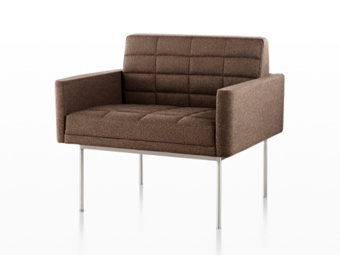 herman miller tuxedo sofa crushed velvet john lewis lounge seating brown with quilted fabric upholstery and satin chrome legs viewed from the