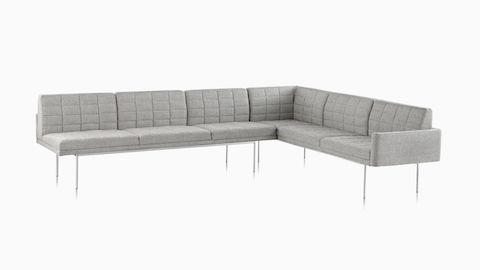 herman miller tuxedo sofa sofas camas el corte ingles lounge seating one seat blue and side table combination viewed from front