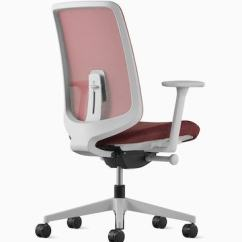 Office Chair Herman Miller Diy Dining Room Chairs Verus Three Quarter Rear View Of A Gray With Suspension Back And