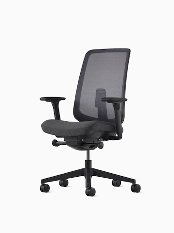 ergonomic chair description hanging lazada aeron office chairs herman miller a black verus with gray upholstered seat select to go the
