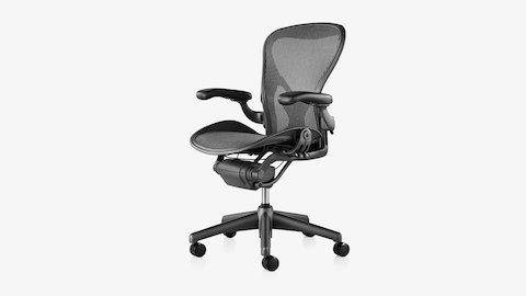 aeron chair manual repair shop adjustments herman miller a black classic ergonomic desk viewed from an angle