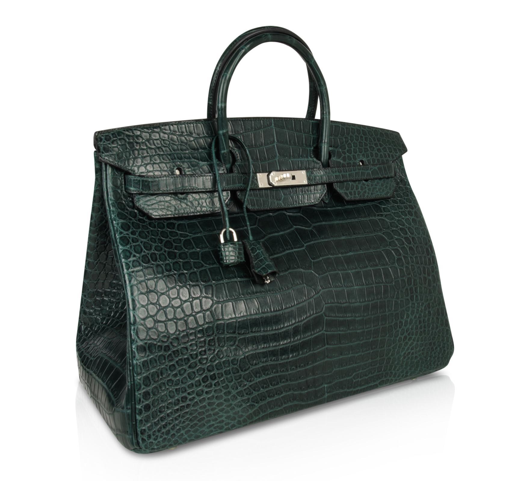 7 Star Replica Birkin Bag 40cm Vert Fonce Matte Porosus Crocodile Palladium Hardware Garland. TX – hermes replica bags most expensive ...