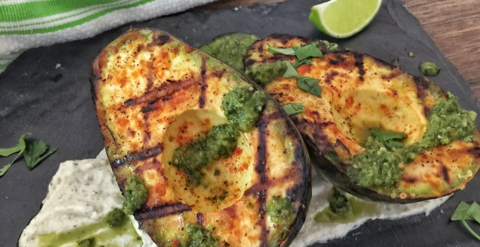 Grilled Avocado with Herbed Goat Cheese & Chimichurri