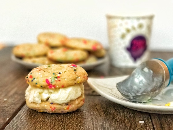 Funfetti Cake Batter Ice Cream Cookie Sandwiches