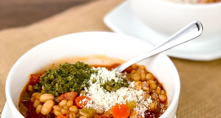 Tuscan Wheat Berry Bean Soup with Basil Pesto and Parmesan Cheese