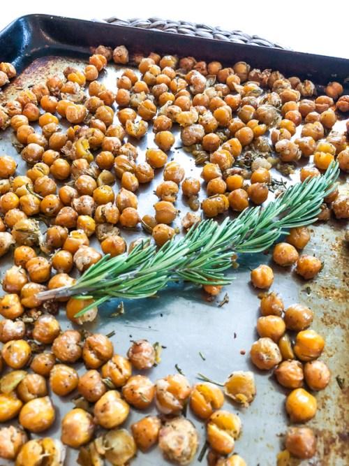 Crispy Rosemary Garlic Chickpeas cooked