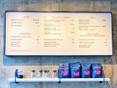 Merit Coffee Menu
