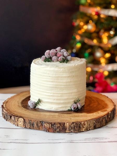 Festive Italian Cream Cake With Cranberry Curd Sugared Cranberries