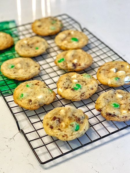 Mint M&M and Oreo Cookie Crumb Cookies cooling