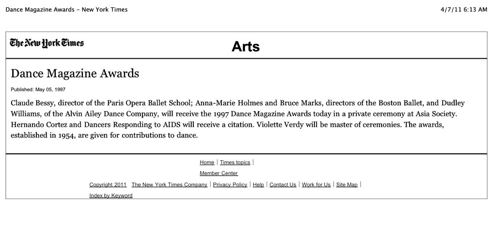 Dance Magazine Awards Announcement
