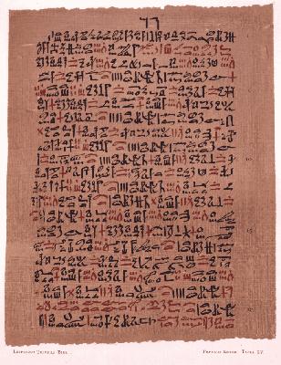 El papiro Ebers (1550 a. C.), incluye recetas médicas en oftalmología, ginecología, y gastroenterología.