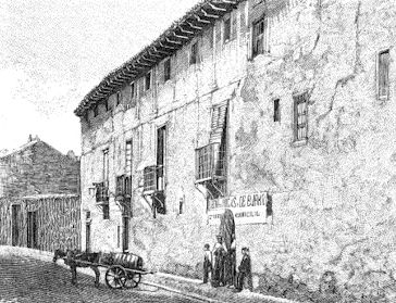 Maison où mourut Christophe Colomb (gravuedu XIXe siècle d'après photographie)
