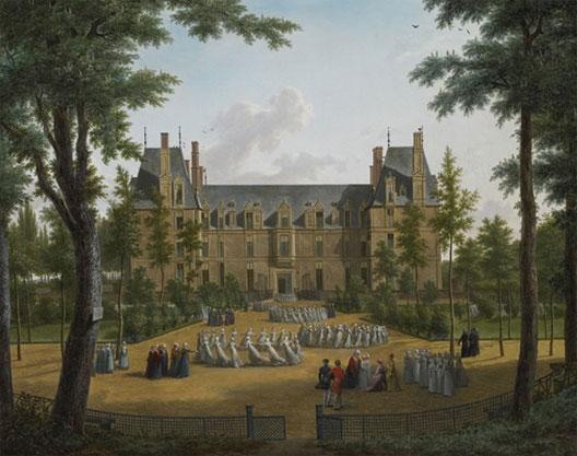 Visite de la reine Hortense au château d'Écouen, maison d'éducation des jeunes filles de la Légion d'Honneur