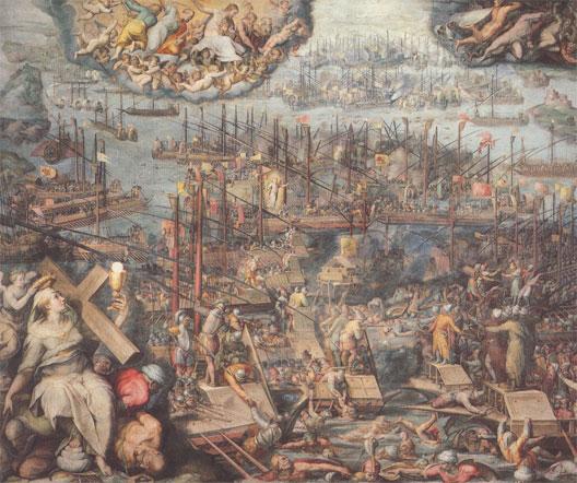 La bataille de Lépante (détail), par Giorgio Vasari (Sala Regia, Vatican)
