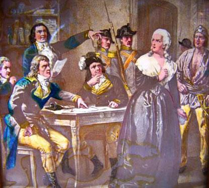 Marie-Antoinette lors de son procès (plaque de lanterne magique, collection de Michelle Lorin, association Marie-Antoinette)