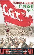 Les syndicats français unis pour le défilé du 1er mai 1936 (archives nationales)