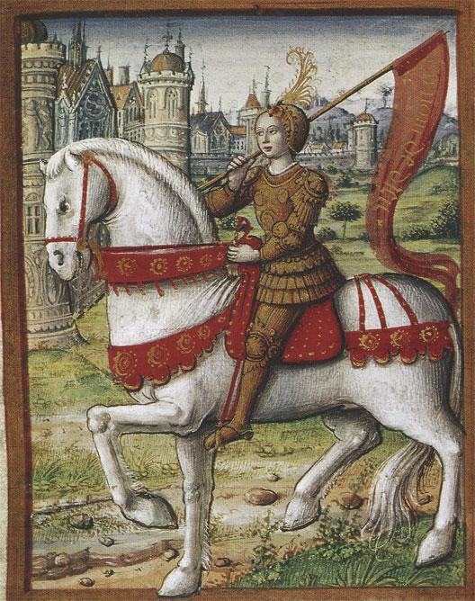 Jeanne d'Arc à cheval (miniature de la fin du XVe siècle, musée Dobrée, Nantes)