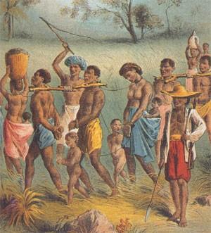 Convoi d'esclaves en Afrique (gravure du XVIIIe siècle)
