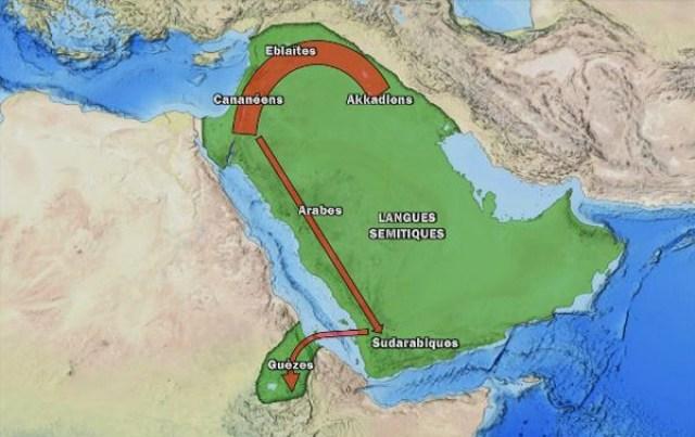 L'expansion des Sémites. Précisons que les peuples indiqués n'ont pas tous vécu à la même époque.