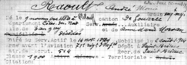 André Marie Raoult. Base des Personnels de l'aéronautique militaire - Service historique de la Défense.