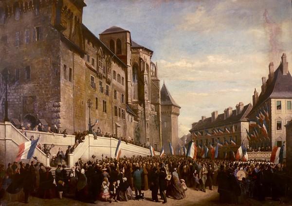 La votation en 1860, Louis Houssot, 1890, musée des beaux-arts de Chambéry. Chambériens brandissant des drapeaux français au pied du château des ducs lors du rattachement de la Savoie à la France en 1860.