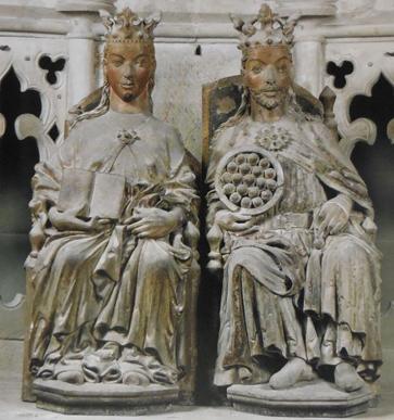 Édith et Otton Ier à Magdebourg vers 1250 in World Archeology n° 43, sept.-octobre 2010. L'agrandissement montre les statues d'Adélaïde et Otton Ier, Allemagne, Cathédrale de Meissen XIIIe siècle.