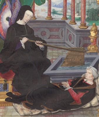 Louise de Savoie représentée avec un gouvernail, symbole de la régence. Miniature de Noël Bellemare tirée des Gestes de Blanche de Castille d'Étienne Leblanc, vers 1520-1522, Paris, BnF.