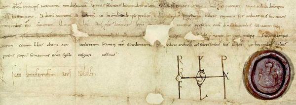 La charte du roi Rodolphe III de Bourgogne datant de 996, Archives départementales de Savoie, DR. L'agrandissement présente la couronne impériale de Conrad II le Salique. Trésor séculier de Vienne.