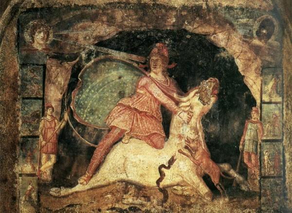 Mithra sacrifie un taureau au Soleil invaincu (villa romaine de Milon, 1er siècle après JC)