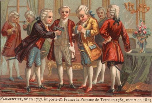 Parmentier offre une fleur de pomme de terre à Louis XVI (gravure extraite d'un livre scolaire, début du XXe siècle)