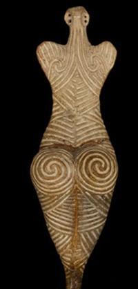 Figurine féminine, culture Cucuteni, 4050–3900  av. J.-C., Botosani County Museum, Roumanie