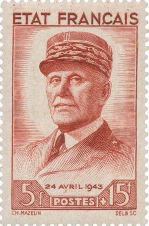 Timbre-poste à l'effigie dePhilippe Pétain, chef de l'État français (1943)