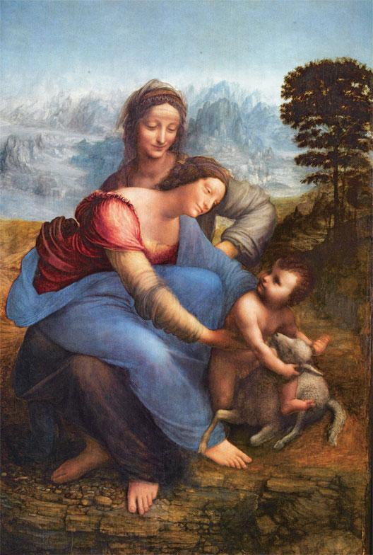 La Vierge à l'enfant avec Sainte Anne, par Léonard de Vinci (1452-1519), 1,68x1,30m, support : bois de peuplier (musée du Louvre)